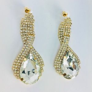 New! Glamorous Crystal Rhinestones Earrings Gold